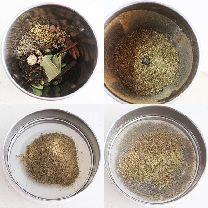 blending or processing garam masala powder in mixer