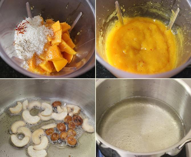frying rava for mango kesari recipe or mango sheera