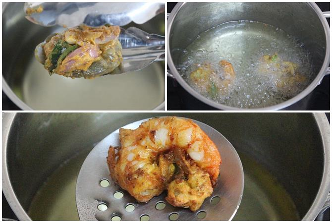 deep frying battered prawns for prawn fritters