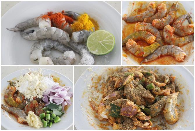 marinate with spice powders lemon for prawn pakora recipe