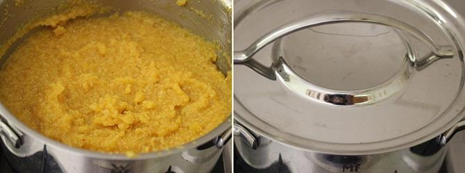 addition of mango for mango kesari recipe or mango sheera