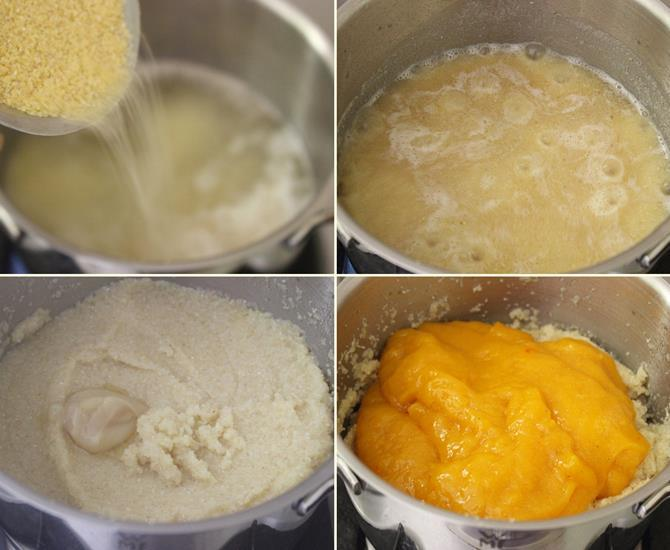 pour rava for mango kesari recipe or mango sheera