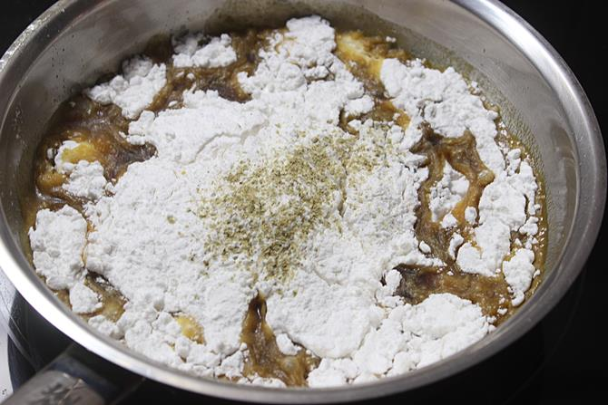 addition of rice flour to make bellam undrallu recipe