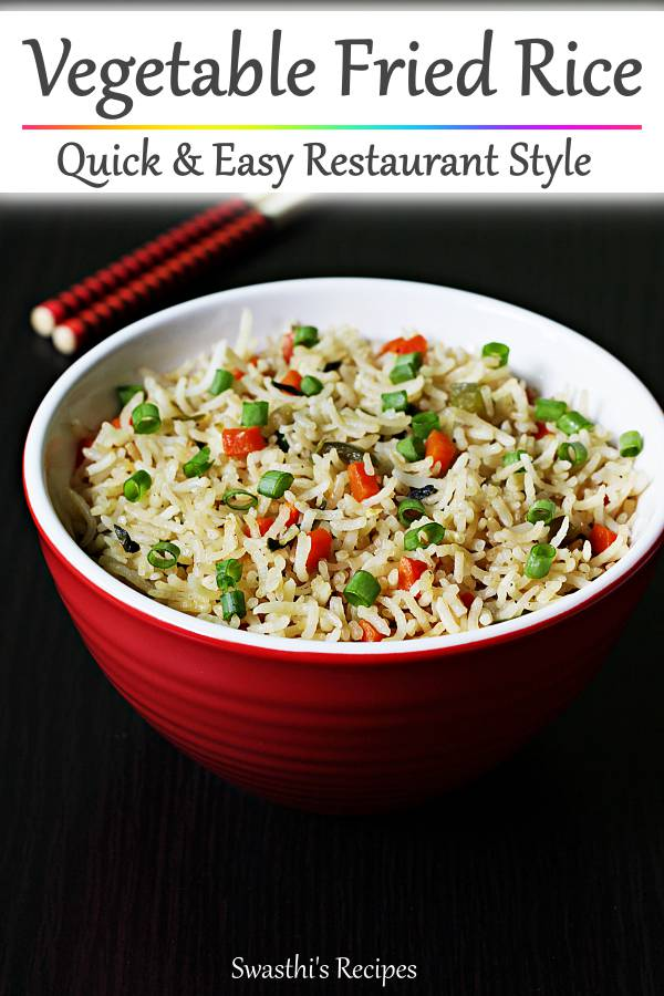 Vegetable fried rice - Delicious, aromatic & flavorful. Can be made in minutes if you have the precooked rice. #friedrice #friedricerecipe #vegfriedrice #vegfriedricerecipe