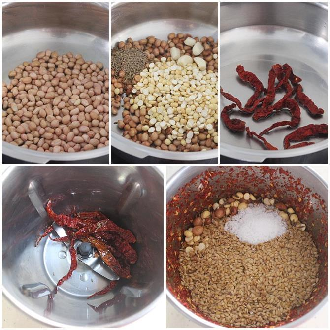 steps on making flax seeds chutney powder