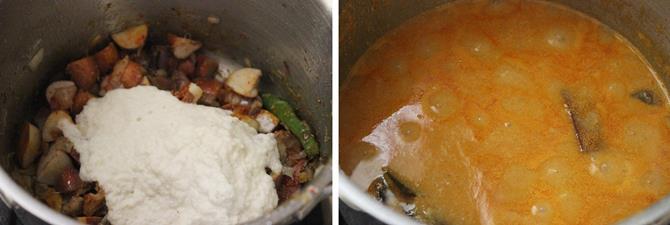 addition of tamarind paste to make jackfruit seeds recipe