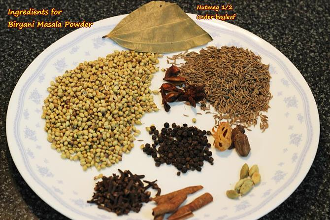 ingredients spices for biryani masala powder