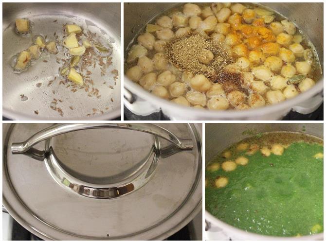 how to make palak chole gravy step 2