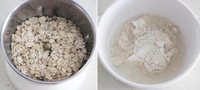 powder oats finely in a jar to make soft multigrain roti step 1