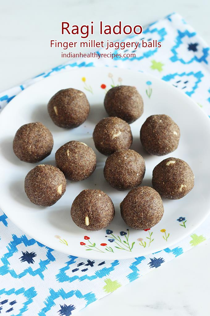 Ragi ladoo or nachni ladoo are nutritious & delicious sweet balls made of finger millet flour, ghee, jaggery, seeds and nuts. #ragiladoo #ragiladdu #ragi #millet #ladoo