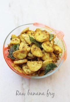 raw banana fry recipe | raw banana recipes | aratikaya recipes