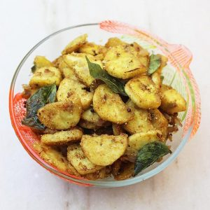 Raw banana fry recipe | Raw banana recipes | Aratikaya recipes