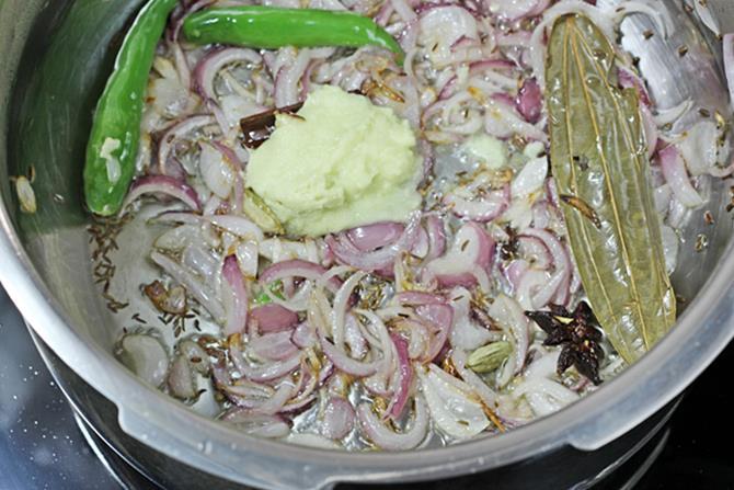 sauteing ginger garlic for easy vegetable biryani in pressure cooker recipe