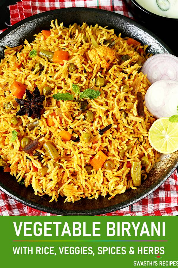 Veg Biryani Recipe How To Make Vegetable Biryani Swasthi S Recipes