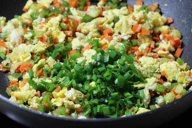 addition of spring onion greens in egg fried rice recipe