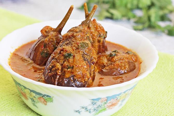 gutti vankaya kura or curry stuffed brinjal curry for