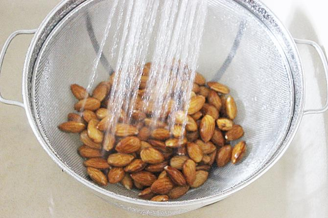draining to colander to blanch almonds