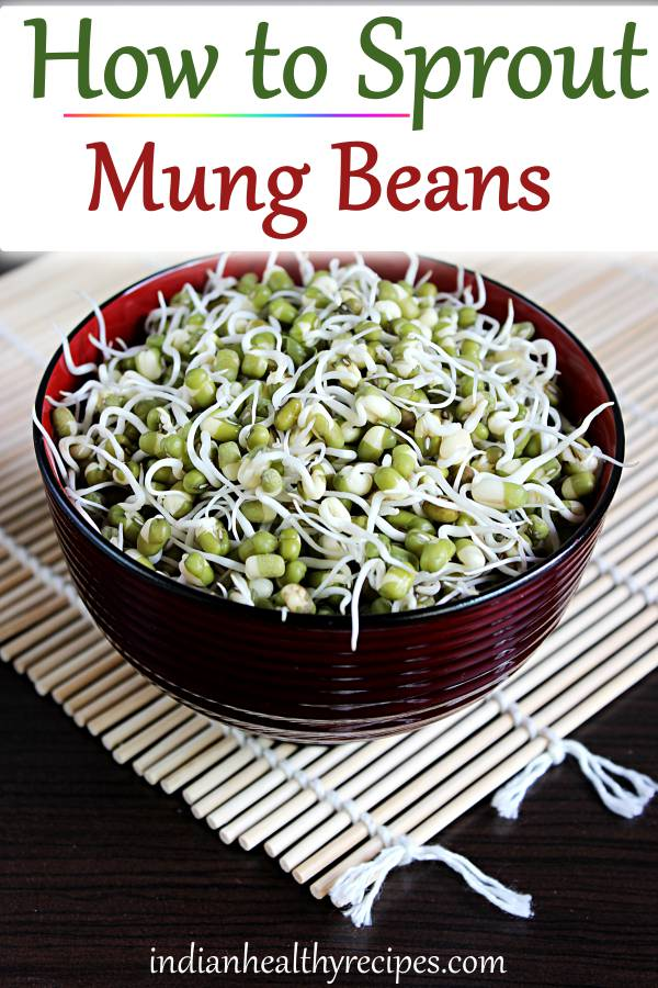Sprouting mung beans at home is super easy, economical & taste delicious. #howtosproutmungbeans #mungbeansprouts #greengramsprouts