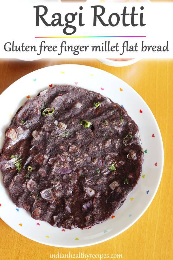 Ragi rotti are gluten free flat breads made with finger millet flour, onions, chilies & coriander leaves. #ragiroti #ragirotti #ragirecipes