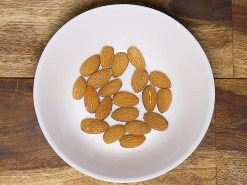 rinsing almonds to make badam milk