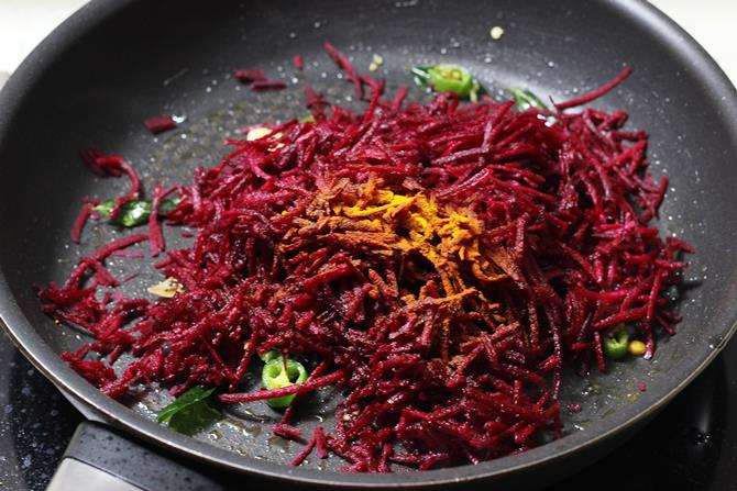 Stir fry veggies lightly for beetroot curry recipe
