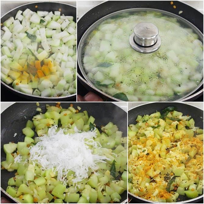 making sorakkai poriyal or bottle gourd curry step 1