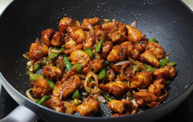 fry the mixture on high for dry chilli chicken recipe