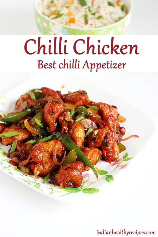Chilli chicken, an Indo chinese appetizer made of fried chicken bites tossed in sweet & spicy chilli sauce. #chillichicken #chillichickenrecipe #chilli #chicken #chinese #appetizer