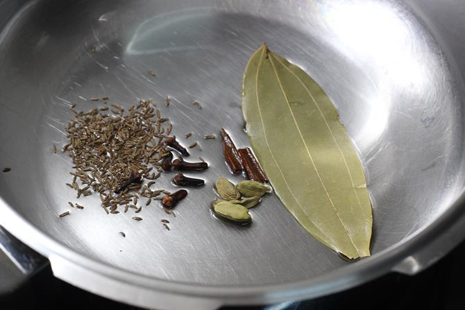 saute spices in ghee for coconut milk rice
