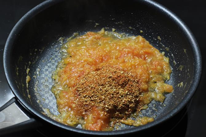 sauteing karahi masala for kadai paneer recipe