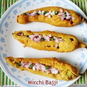 Mirchi bajji recipe | Mirapakaya bajji | How to make stuffed mirchi bajji