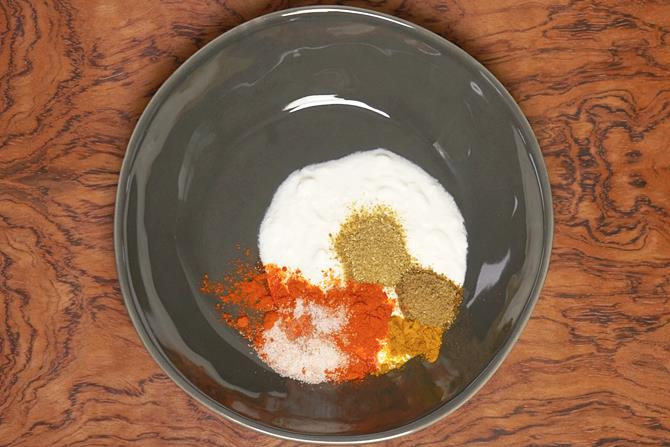 add curd,red chili powder