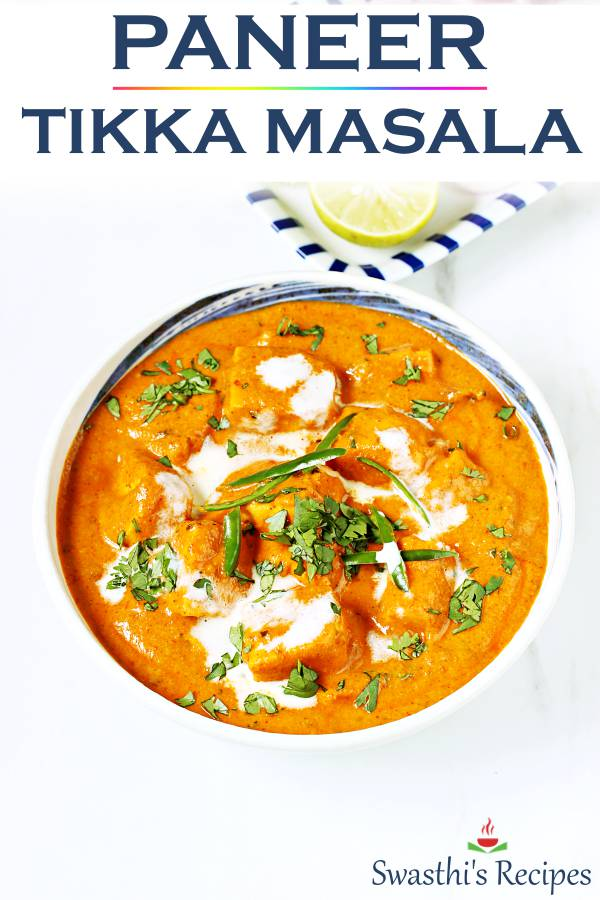 Paneer tikka masala with amazing restaurant flavors, delicious & creamy , all with just a handful of ingredients. #paneertikkamasala
