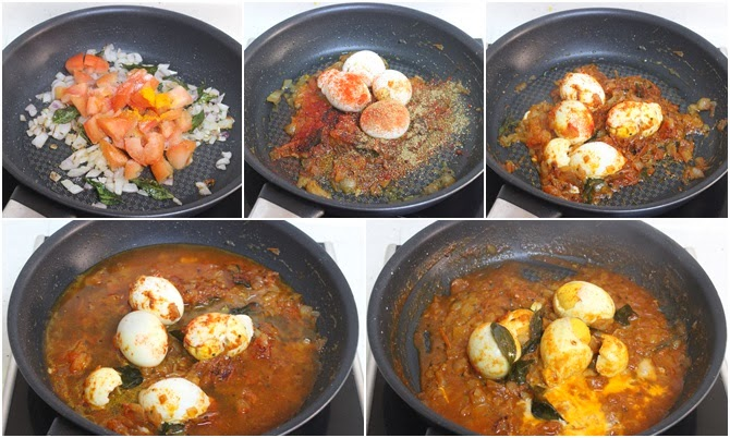 addition of spices in andhra tomato egg curry
