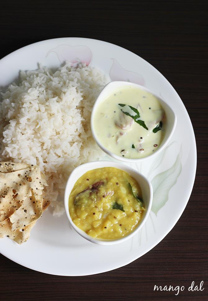 serve mamidikaya pappu,mango dal with rice