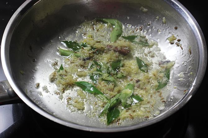 frying ginger garlic paste in oil for pepper chicken recipe