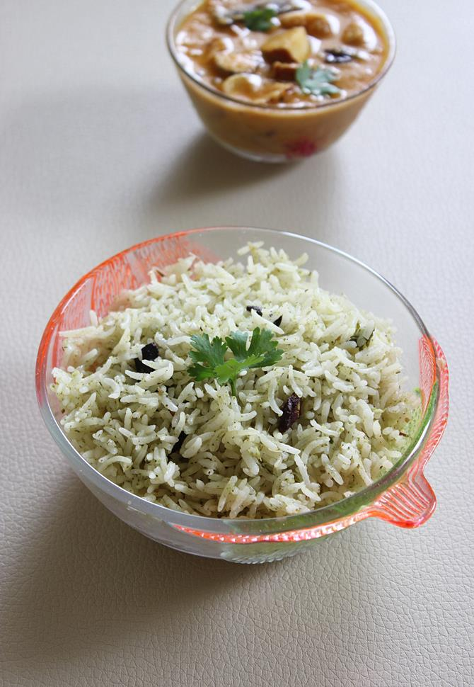 pudina rice recipe, mint rice