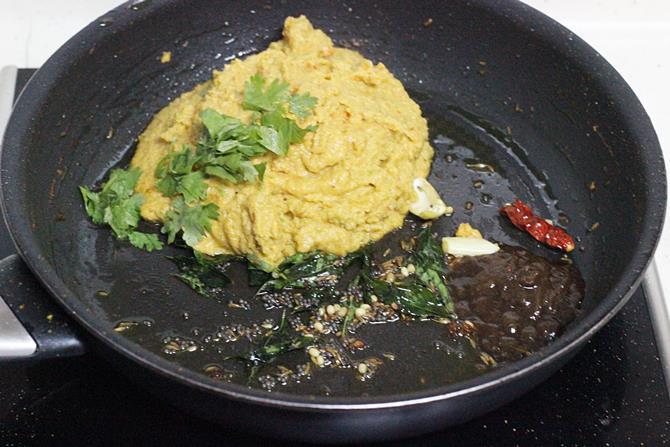 season with mustard cumin hing to make sorakaya pachadi recipe