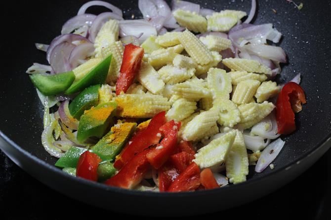 frying veggies