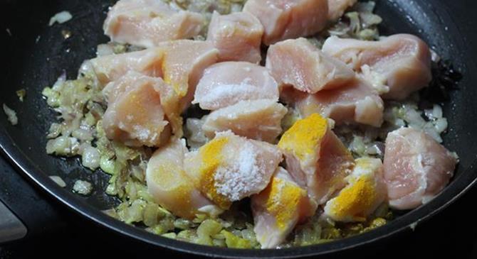 addition of marinade for chicken kurma recipe