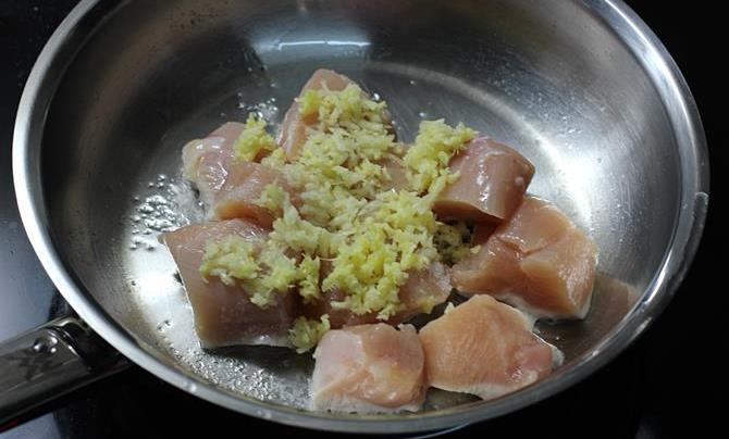 frying ginger garlic paste for chicken roast recipe