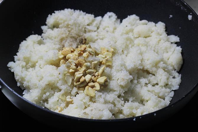 cooling mixture for making coconut ladoo recipe
