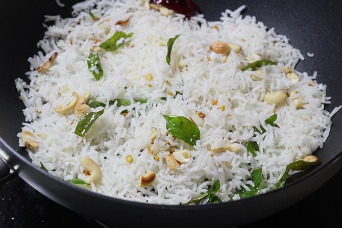 Coconut rice recipe south indian coconut rice recipe tengai sadam mixing ingredients to make south indian coconut rice ccuart Image collections