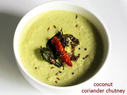 coriander chutney in a white bowl