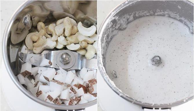 make a fine paste of coconut and roasted gram or cashews