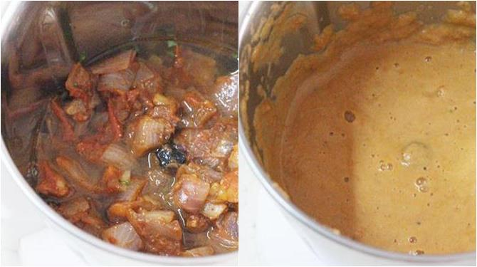 blending onions for methi paneer recipe
