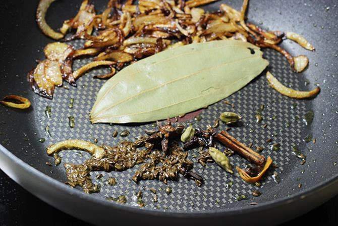 addition of spices for fish biryani recipe