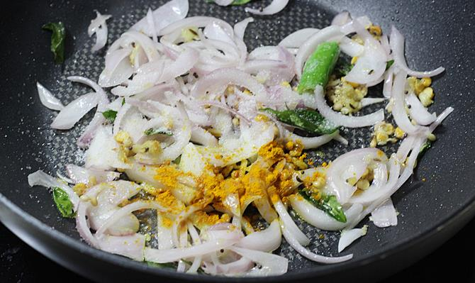 frying onions for raw banana curry recipe