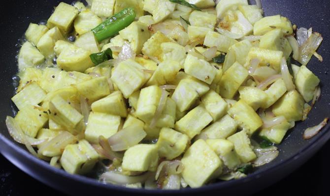 addition of plantain in aratikaya curry recipe