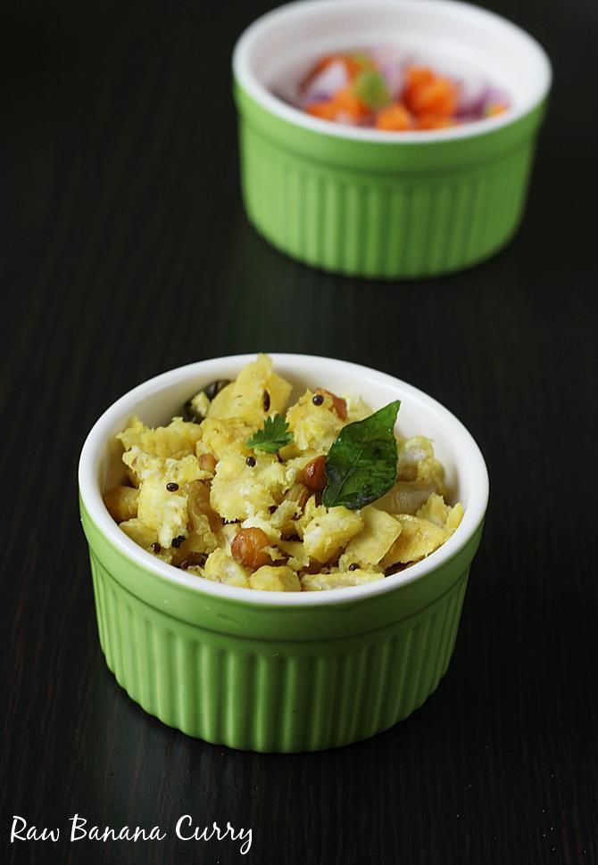 Raw Banana Curry Recipe Aratikaya Kura Plantain Curry